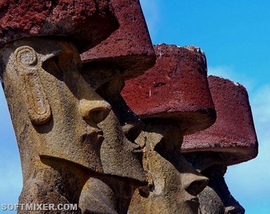 Моаи достигают в высоту от пяти до семи метров