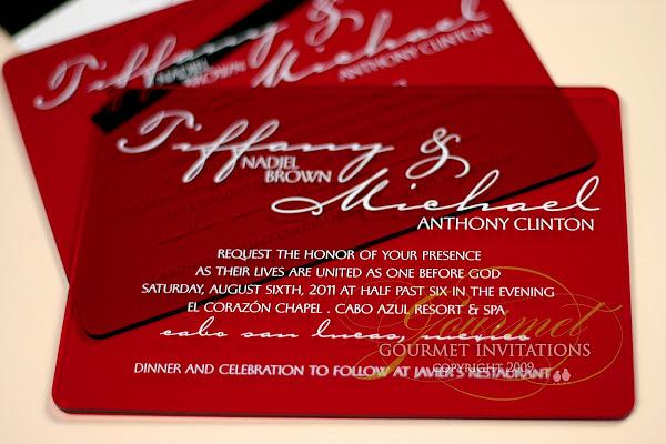 Tiffany Michael Red Plexiglass Wedding Invitations Gourmet