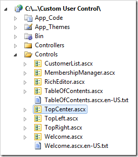 TopCenter user control in Visual Studio's Solution Explorer.