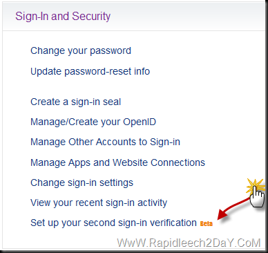 Yahoo - Setup your second sign-in verification