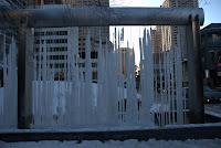 Yorkville Park, Toronto, Jan 2009: Water harp frozen for the winter