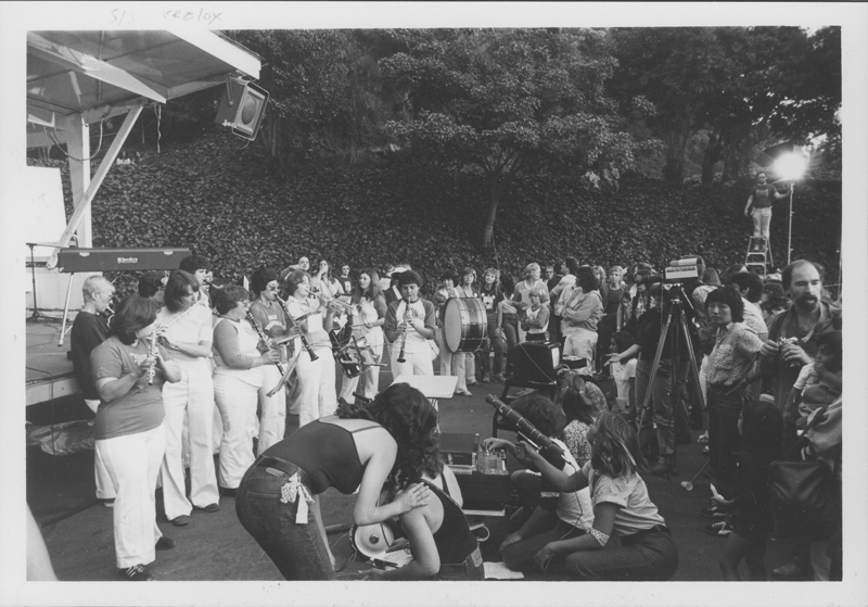 San Fernando National Organization for Women (NOW) Marching Band led by director Sue Wenke at the Women Take Back the Night march. April 19, 1980.