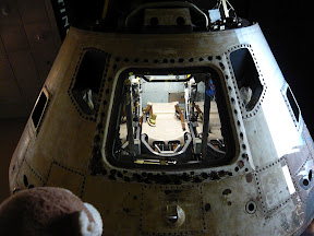 CM looking up --- into the space capsule.