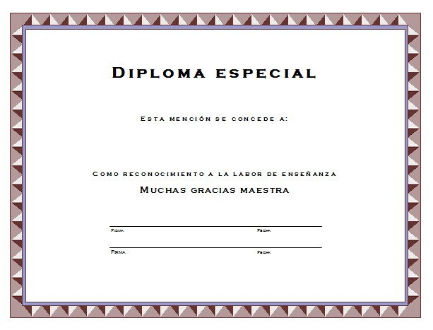 Diploma para la maestra