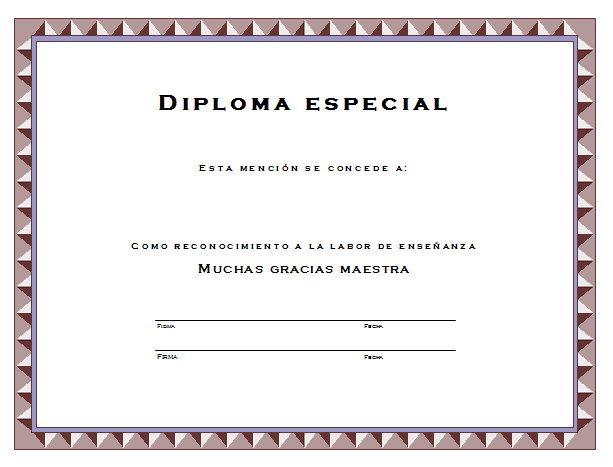 Diploma Para La Mejor Maestra