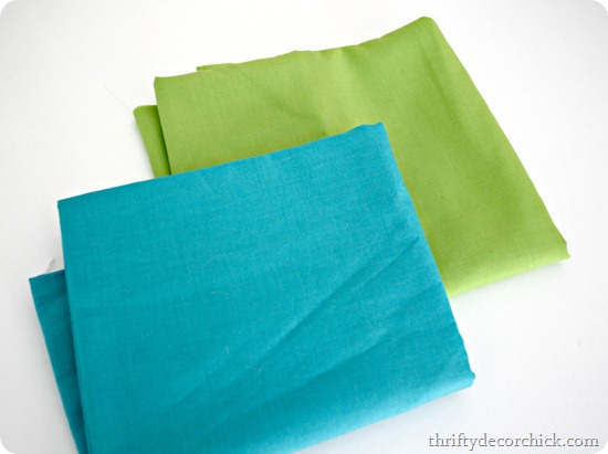 aqua and green fabric