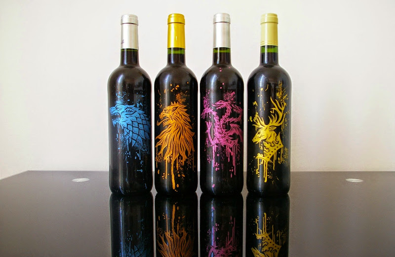 Custom Painted Game of Thrones Wine Bottles by Oskunk