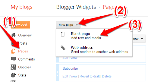 Create Separate Contact Page in Blogger - Blogger Widgets