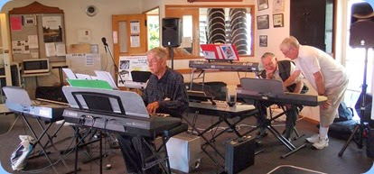 We had 7 keyboards set-up and playing. Photo courtesy of Dennis Lyons