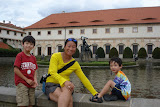 Maria and the boys at Wallenstein Palace