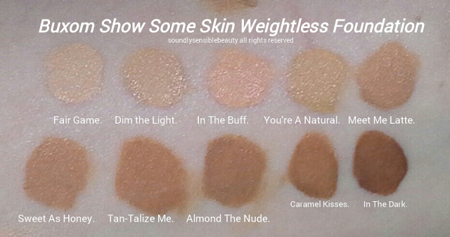 Buxom Show Some Skin Weightless Foundation Swatches of Shades
