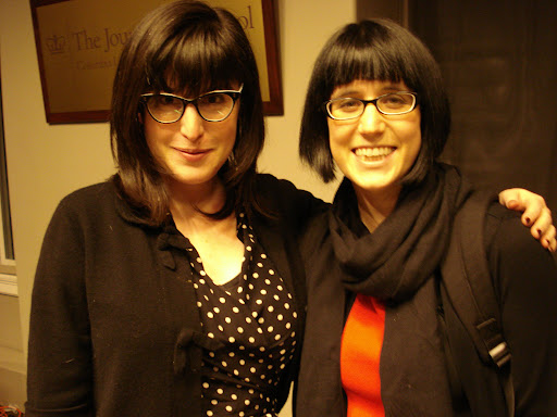 Separated at birth? That's Andi Zeisler, editor of Bitch magazine, on the left; and Elizabeth R. Stark, J2008. Zeisler was a speaker at the Delacorte Lecture series on March 27, 2008. PHOTO: Yian Huang