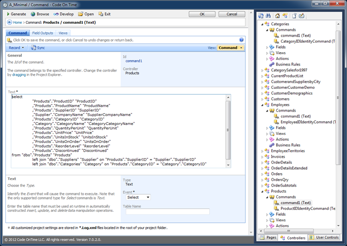 Text property of Command is displayed in a wide text box in Project Designer.
