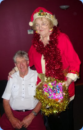 Master puppeteer and Santa, Jeanette Beamish, working Ian Jackson!