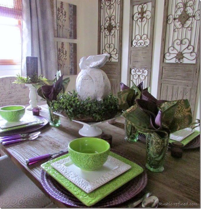 Spring Tablescape with purple, green and white colors.