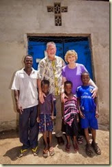 Pastor Tchapo's Tsito Village AG Church in Togo. AG missionary Mark Alexander and his wife Vickie.
