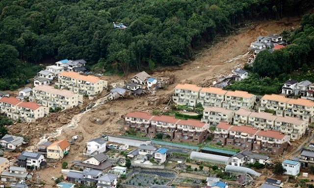 Aerial view of the damage from a landslide in the Asaminami ward of Hiroshima, 20 August 2014. Photo: KYODO / REUTERS