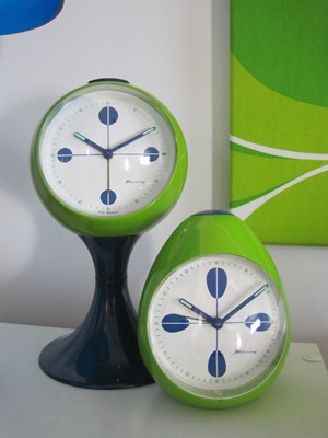 green and blue Blessing alarm clock with tulip base and matching egg clock