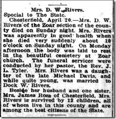 Mrs D. W. Rivers