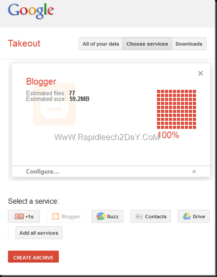 Backup All Your Blogger Blogs - Google Takeout 2
