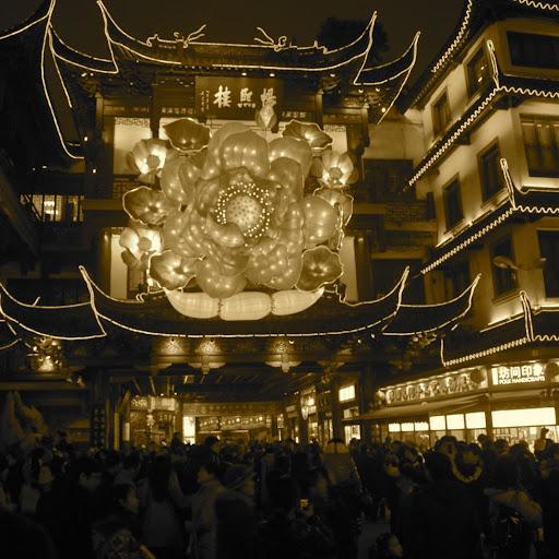 Shanghai Fête des Lanternes 2012 - Foule dans rues de City God Temple