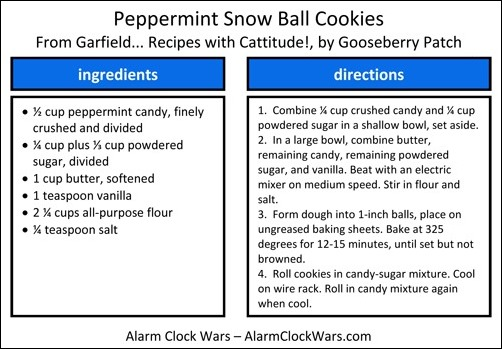 peppermint snow ball cookies recipe card