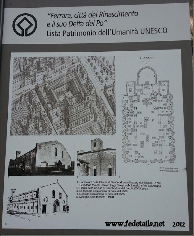 Chiesa di Sant'Andrea cartello informativo, Ferrara, emilia romagna, Italia - St. Andrew's Church information board, Ferrara, emilia, Italy - Property and Copyright of www.fedetails.net