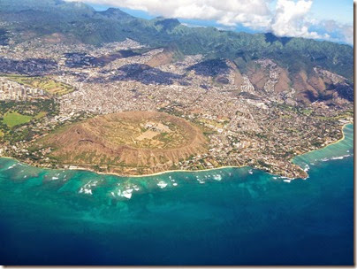 View of Diamond Head from the plane on our way home