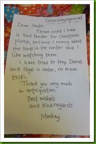 Monkey's letter to Santa