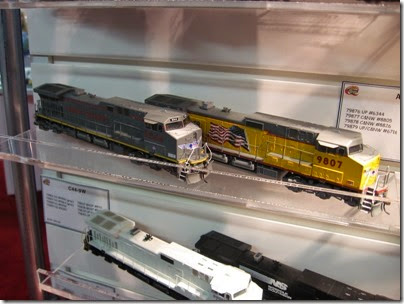 IMG_5328 HO-Scale Union Pacific AC4400CW #6344 & C44-9W #9807 by Athearn at the WGH Show in Portland, OR on February 17, 2007
