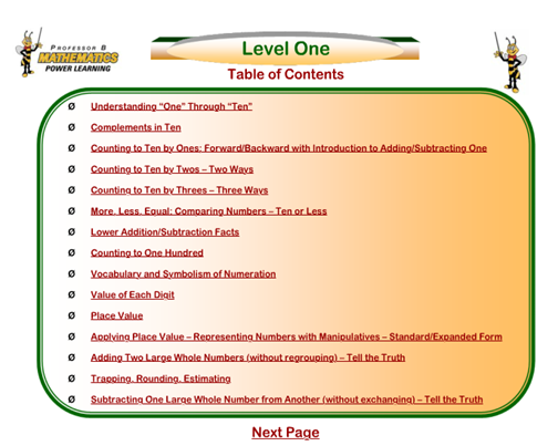 Table Of Contents Level 1