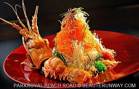 PLAZA BRASSERIE BUFFET FEAST & REUNION DINNER XO Yu Sheng  Lobster, Salmon, Silver Fish, Chicken Floss, Chinese Sausages, Daikon Sprouts Crispy Fish Skin Shredded Red White Carrots Enoki Mushrooms Chef's Secret Sweet Sauce PARKROYAL BEACH ROAD