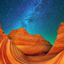 Night at the Wave by Max Seigal - Landscapes Deserts ( night wave stars milky way )