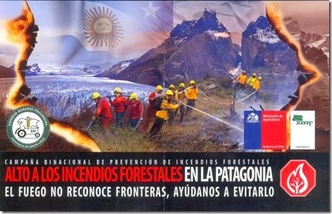 Panfleto Prevenção de incêndios Patagônia