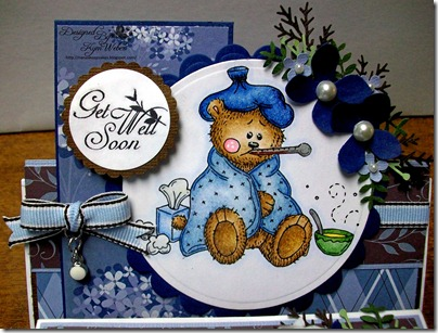 Get Well Soon Sick Little Bear Easel Tissue Box Card2