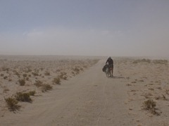 Walking the bike through harsh winds and a duststorm near San Juan, Southwestern Bolivia.