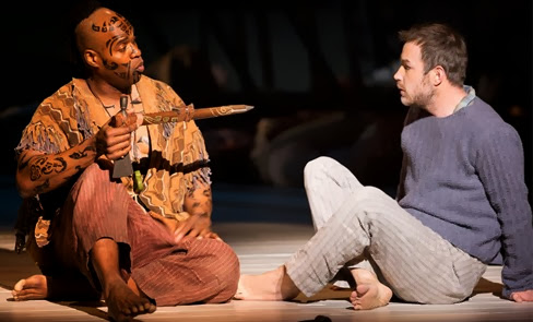 Baritone Eric Greene as Queequeg (left) and tenor Stephen Costello as Greenhorn (right) in Jake Heggie's and Gene Scheer's MOBY-DICK at Washington National Opera [Photo by Scott Suchman, © Washington National Opera]