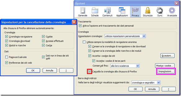 Firefox automatizzare la cancellazione dei dati di navigazione