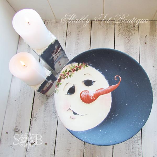 Shabby Art Boutique snowman plate 3