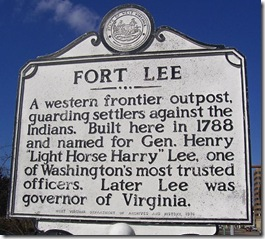 Fort Lee marker in Charleston, West Virginia along Kanawha River
