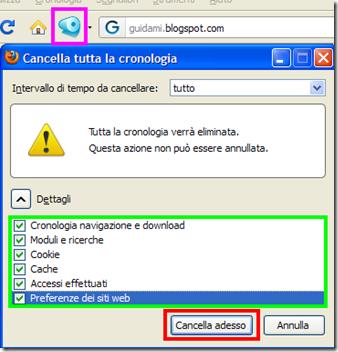 Click&Clean icona e Cancella tutta la cronologia Firefox