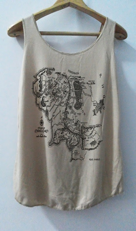 Lord of the Rings Middle Earth Map Tank Top from Vintage Art Shirt