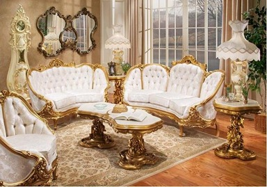 Victorian-living-room-furniture-with-golden-ornaments