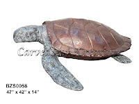 Large Bronze Sea Turtle Statue