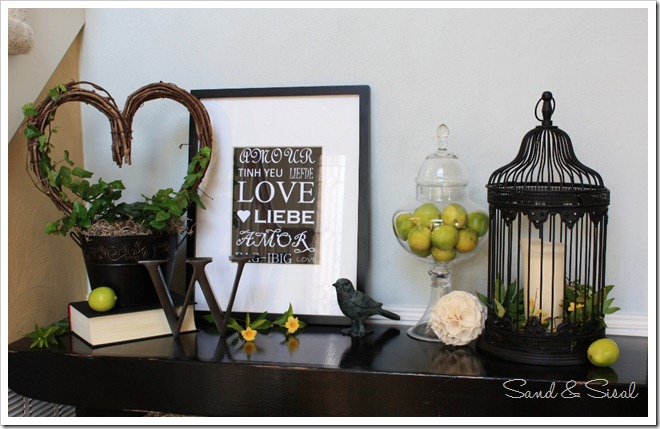 Green and black Valentine Mantel