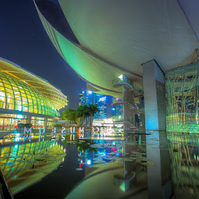 Art & Science Museum Marina Bay by Reza Roedjito - City,  Street & Park  Night ( Lighting, moods, mood lighting,  )