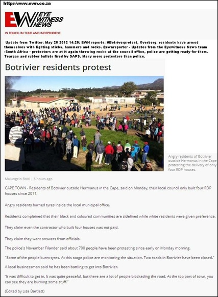 BOTRIVIER NEAR HERMANUS CAPE MAY 28 2012 PROTESTS TURN VIOLENT RESIDENTS DEMAND MORE GOVT HOUSING MALUNGELO BOOI MAY282012
