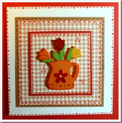 Gingham watering can card