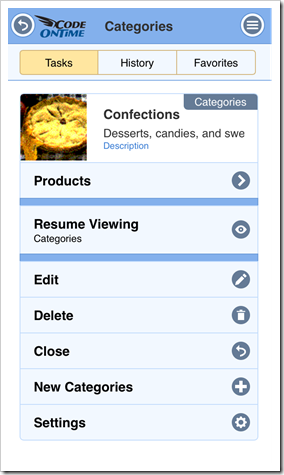 Task Assistant shows available actions in an app with Touch UI produced with Code On Time.