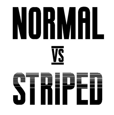 Las dos formas de la tipografía Boxing: normal y striped.